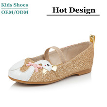 2015 China manufacturer girls fashion shiny leather shoes upper cute animal design