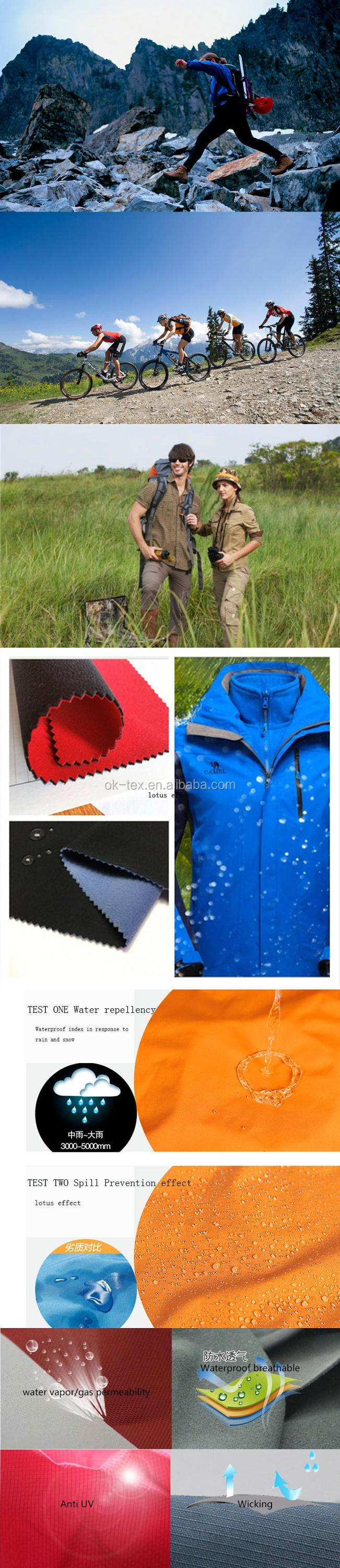 spring softshell fabrics/three layers,windproof,breathable,waterproof fabrics