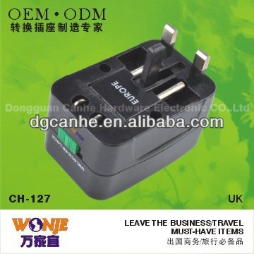 world travel adapter ac dc charging plug with EU UK US AU standards for samsung galaxy/iphone 5/camera (CH-127)