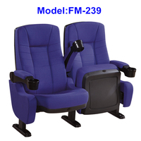 FM-239 Fabric tip up seat cinema chair with holder arms