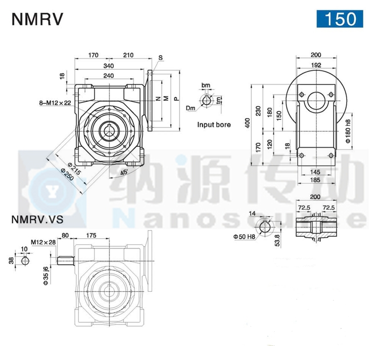 NMRV 150 ratio 30 Cheap Price Small Worm Gearboxes