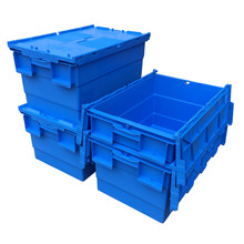 Stackable & Nestable Large Plastic Moving storage Crate with lid
