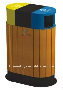 Outdoor Wooden Park Rubbish Bin
