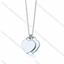 Blank heart key charm engraved stainless steel pendant jewelry