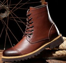 Fashion style men genuine leather shoes man motorcycle boot