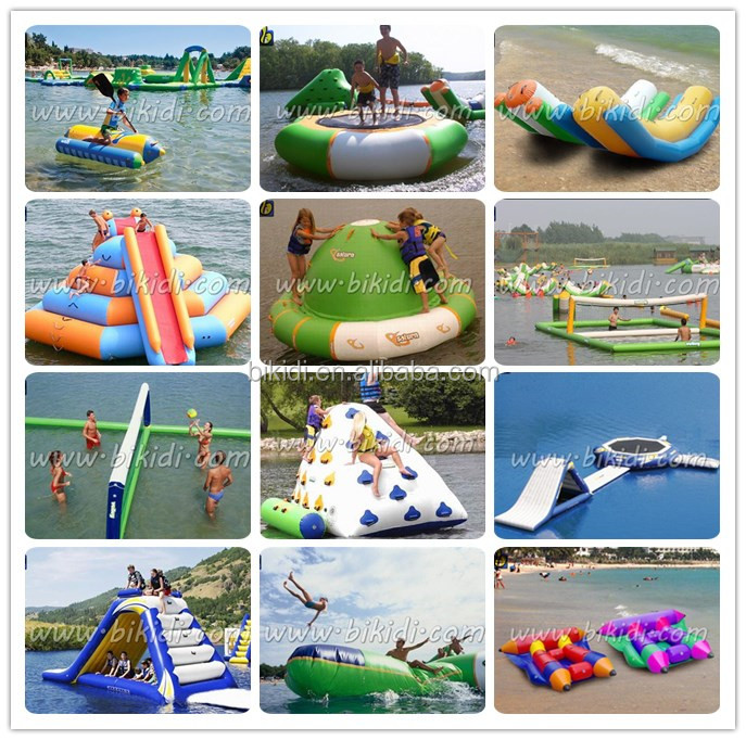 Top Cheap giant inflatable water toys/ inflatable floating water park/ inflatable water slide and trampoline combo
