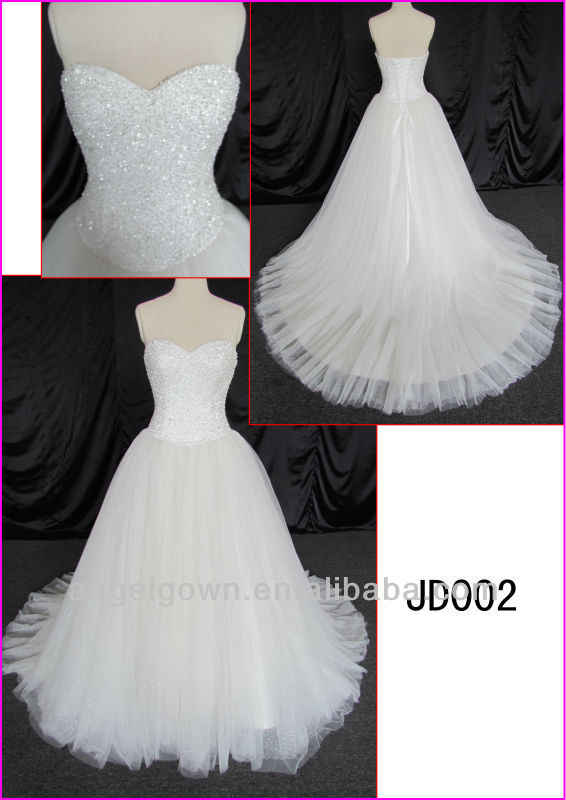 2014 guangzhou real princess white tulle ball wedding gown/bridal dress with heavy beading/sequin fabric JD002