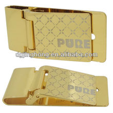 Customized Golden color Money Clip with printing logo