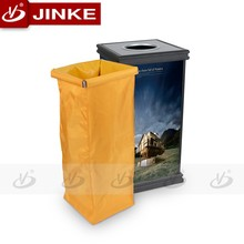 Indoor Aluminum Profile Recycling Single Wooden Trash Bin 50L