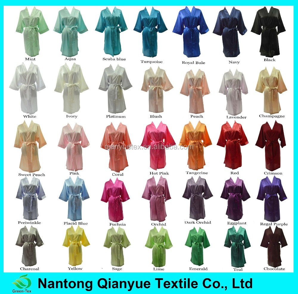 35 Colors available blank kimono satin bridesmaid bath robes