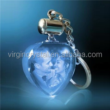 NEW design Heart Shape Crystal Keychain with LED light for love gift and wedding gift