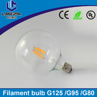 LED Edison Filament Light Bulb E27 220V 4W 6W 8W G80 led globe lamp 360 Degree Energy saving Decorative light bulb for home