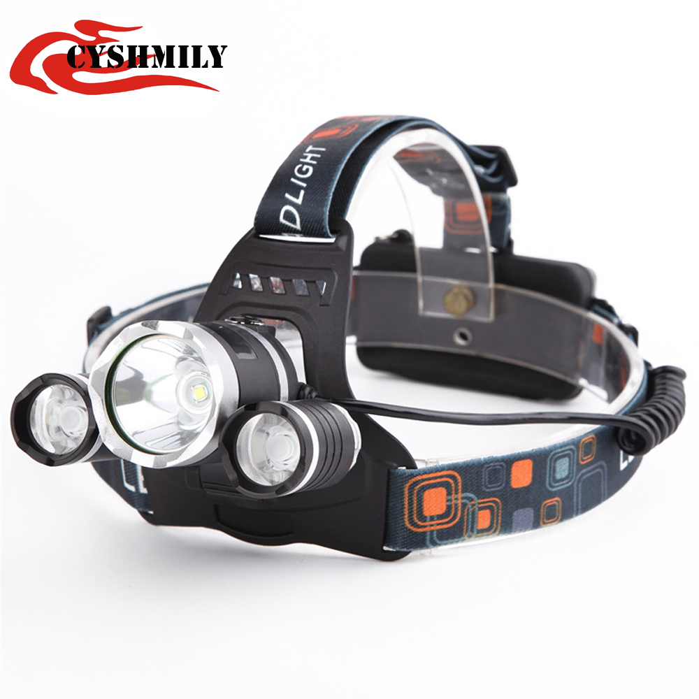 CYSHMILY 2017 powerful camping adjustable 3 light source 18650 rechargeable xml t6 led headlamp