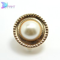 Elegant pearl metal buttons for garment decoration round buckle for dress