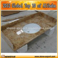 Kashmir Gold bathroom countertops with built in sinks