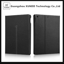 [XUNDD]Stylish Black Textured Leather Wallet Stand Case for Apple New Ipad 2017 9.7 Inch