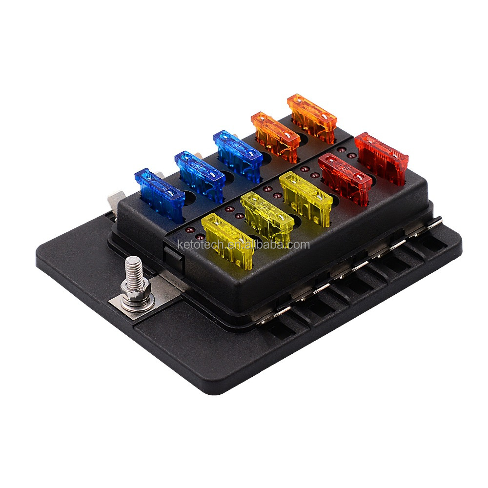 10 way ATC/ATO Blade fuse holder box for <strong>auto</strong>/marine