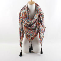 new collection vintage paisley print kerchief with tassel