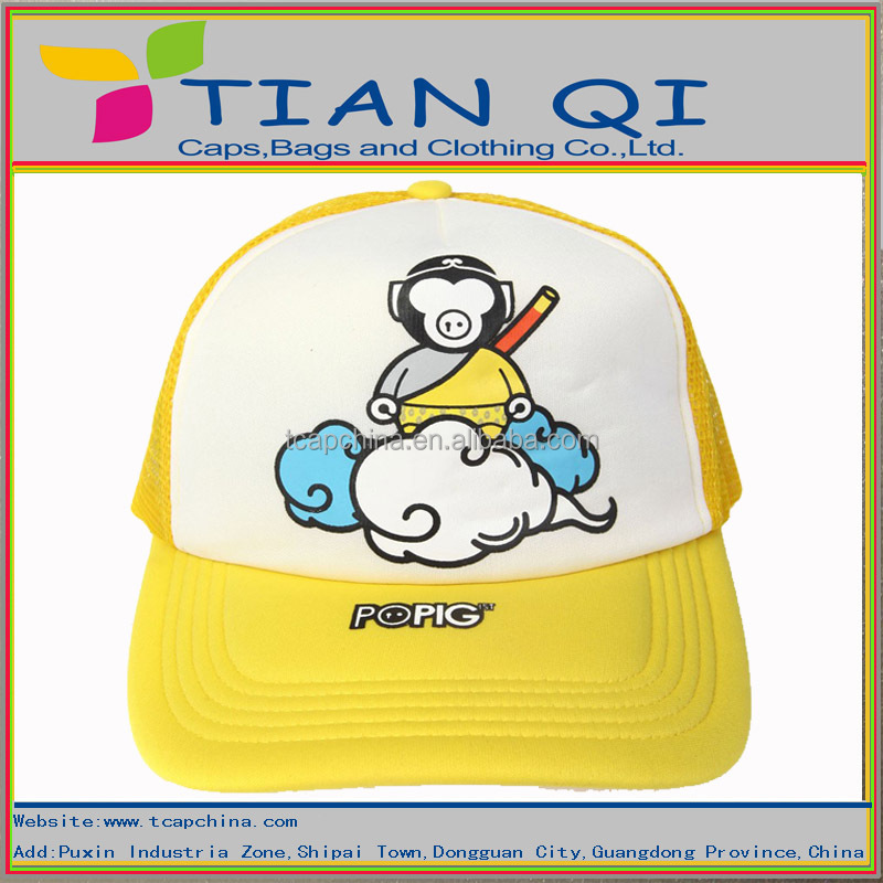 yellow sports baseball hat ventilate hat with a printing monkey king