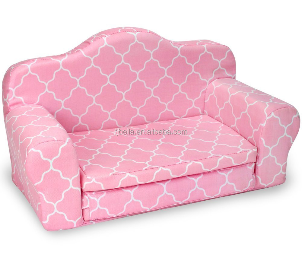 Children's Flip Open Sofa Bed Kids Upholstered Foam Chair Toddler Recliner with Children's 2 in 1 Flip Open Foam Sofa