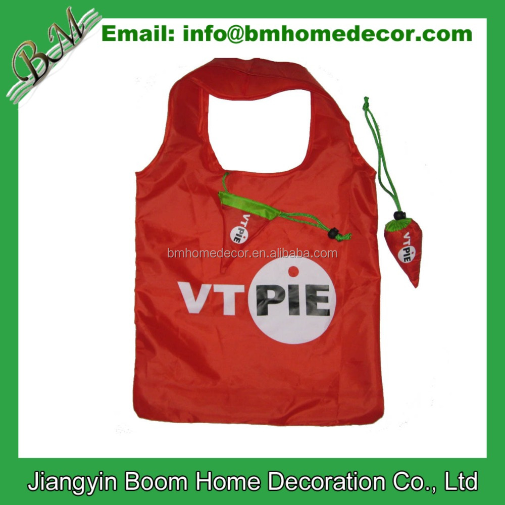 190T Polyester Eco-firendly Pepper Shape Foldable Shopping Bag