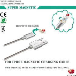 4ft high-speed 2.0 USB data transfer automatic smart [ for Apple MFi Certified ] magnetic inductive metal IOS charging cable