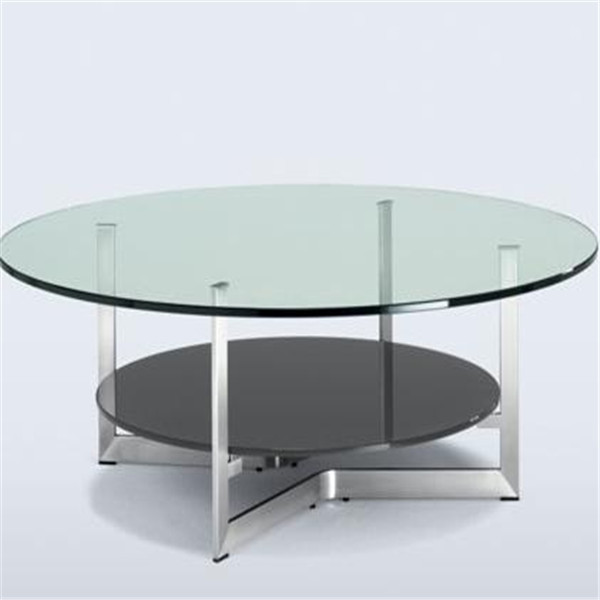 12mm thick polished edges tempered glass dining table with CCC/CE