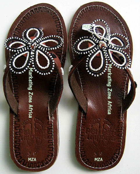 African Leather Sandals - whiteand black flower Beaded Kenyan Sandals - MZAAS0004