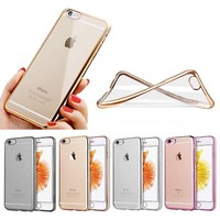 Premium Ultra Slim Soft Transparent Crystal Clear Back Panel + Electroplate Plating TPU Bumper Case for iPhone 6 6S