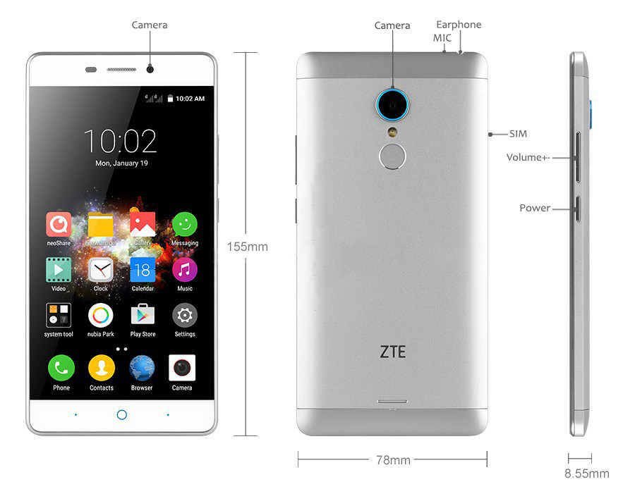 ZTE V5 Pro ZTE N939sc 5.5 Inches Octa Core Android 5.1 Mobile Phone 2GB RAM 16GB ROM 4G FDD LTE 13.0MP FHD 1080P Fingerprint