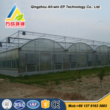 Low cost multi span agricultural hydroponics greenhouse