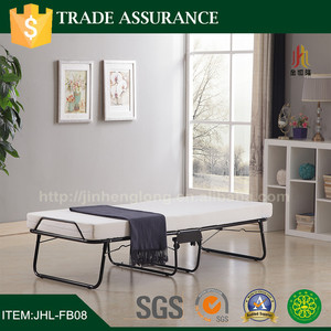 Hotel folding metal bed with wheels and mattress