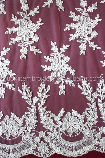 100%polyester printed satin lace fabric for wedding dress