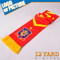 Custom digital printed spain football team promotion polyester soccer scarf for European Cup