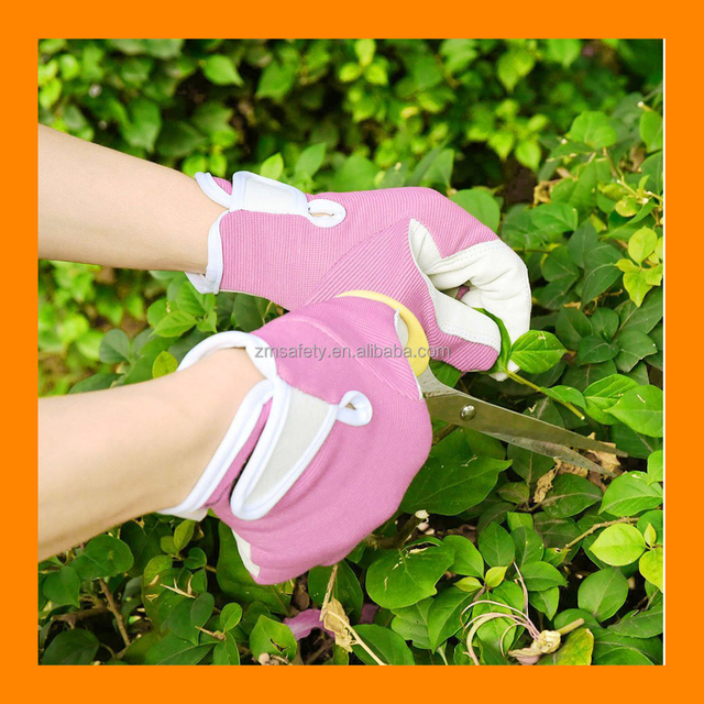 Pink Gardening Gloves With Goatskin Hand Protection Safety Work Gloves Fashionable Ladies Garden Gloves
