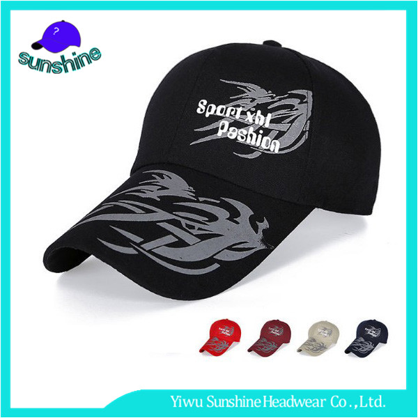 Outdoor baseball player pure black printing Chinoiserie flames baseball cap with long bill