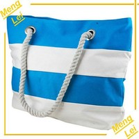 2015 blue strip canvas tote bag lady handbag cotton shopping bag
