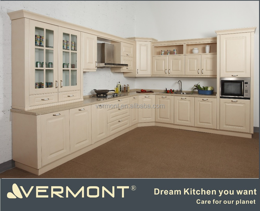 2017 Vermont MDF PVC Membrane Customized Modular European Style L Shape Kitchen Cabinet Set