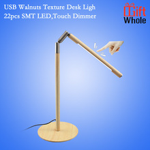 2016 Hot sale Foldable Portable Wood Table Desk Lamp LED touch dimmer lamp