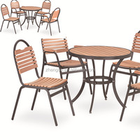 Chinese garden poly wood outdoor space-saving dining set