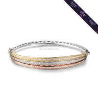 SBR0009-PCT Gold Bangle Three Plating Color Layer Design Customized Silver Bracelet for Women