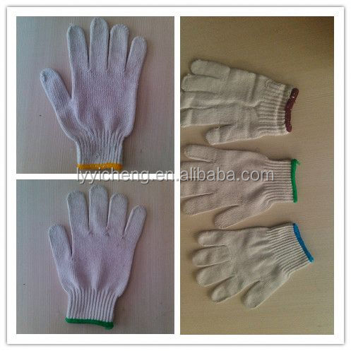 7/10 gauge white knitted cotton gloves manufacturer in china/thin fabric gloves