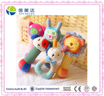 Plush Colorful Rattle Baby Toy with ABS Bell