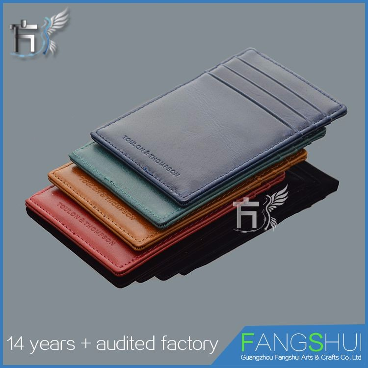 Genuine wallet leather atm card holder leather card case