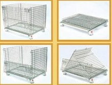 Securiity Wire Mesh Folding Storage Cage with 4 Wheels