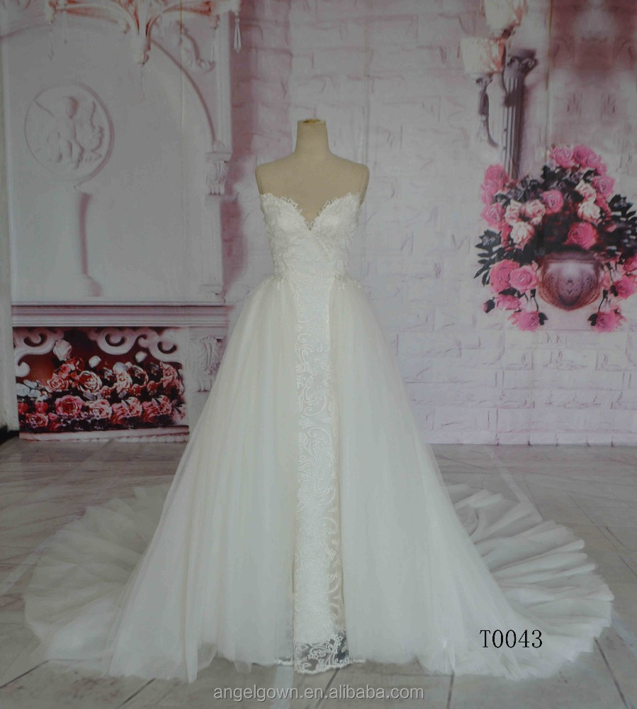 2016 Guangzhou Real Photo Long Train Slim Wedding Dresses With