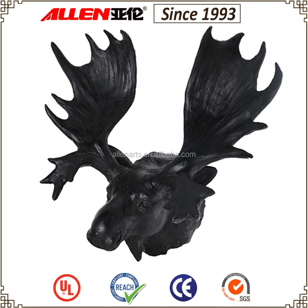"11"" hot sale black resin moose head for wall decoration"