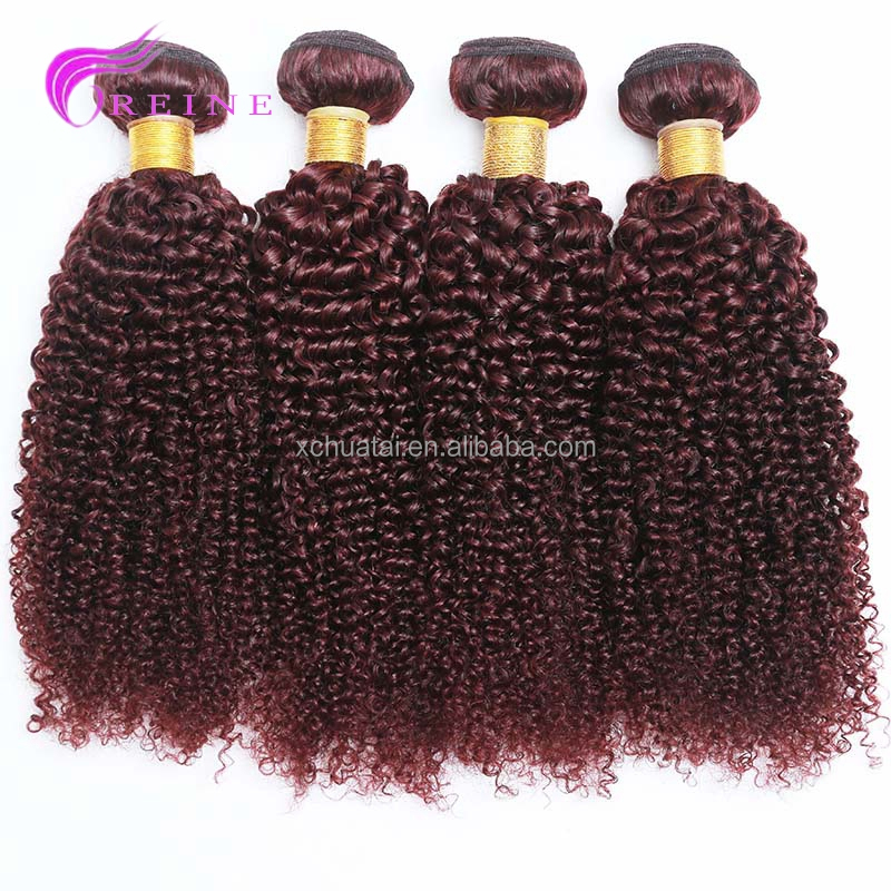 Different style 8A grade kinky curl pure Color 99J Virgin Hair Weave human Hair extensions