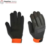 Synthetic leather mechanic gloves , anti shock palm protection garage gloves CE EN388 EN420