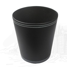 cylinder trash can storage leather custom cloth storage box for washing machine leather garbage can china supplies